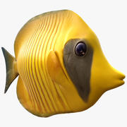 Yellow Butterfly Fish 3d model