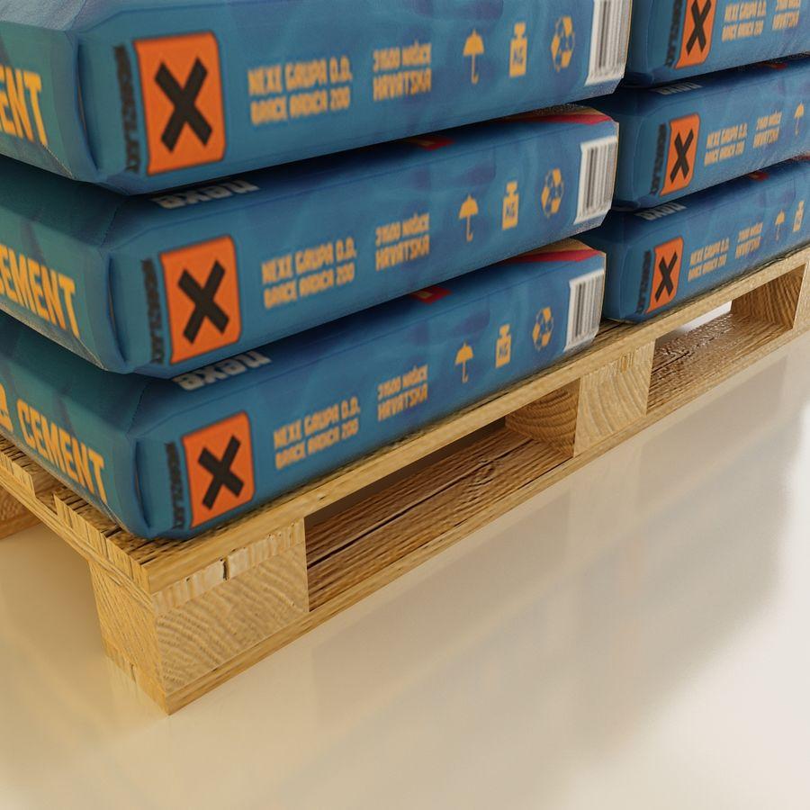 Sacchi di cemento su pallet royalty-free 3d model - Preview no. 4