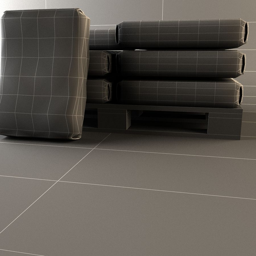 Sacchi di cemento su pallet royalty-free 3d model - Preview no. 14