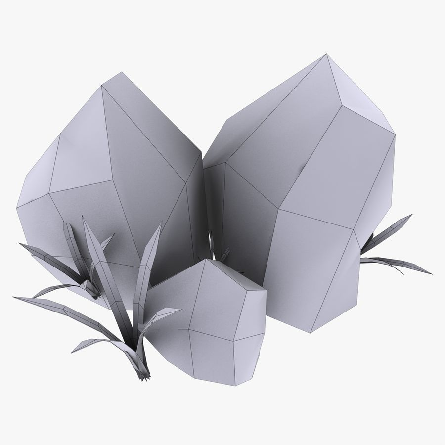 Камень с травой royalty-free 3d model - Preview no. 3