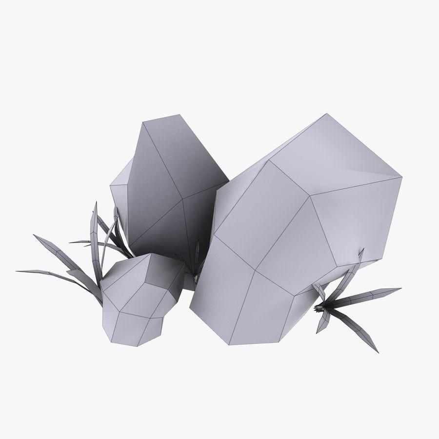 Камень с травой royalty-free 3d model - Preview no. 4