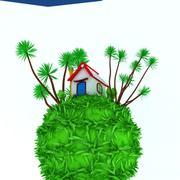 Klein huis op groene aarde 3d model