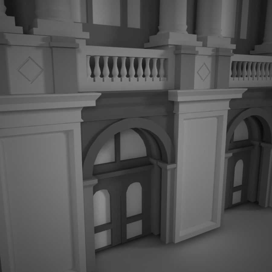 Building Front royalty-free 3d model - Preview no. 3