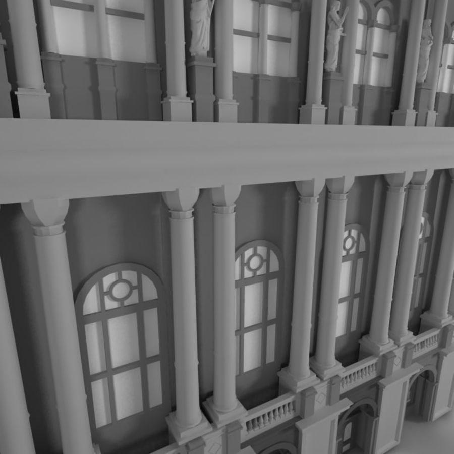 Building Front royalty-free 3d model - Preview no. 2