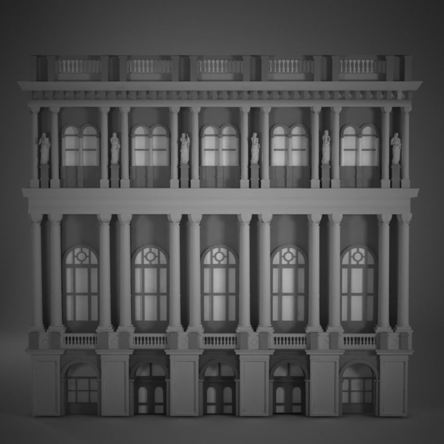 Building Front royalty-free 3d model - Preview no. 1