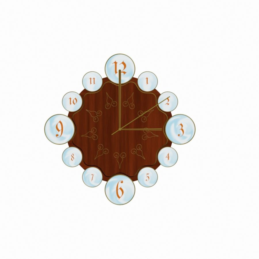 Wall Clock royalty-free 3d model - Preview no. 7