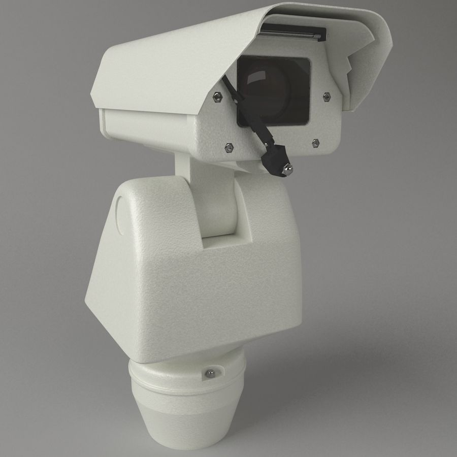 Surveillance Camera with wiper royalty-free 3d model - Preview no. 3