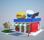 Cartoon Burger Kiosk 3d model