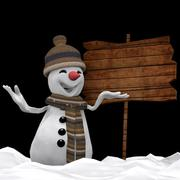 snowman in front signage 3d model