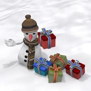 礼品包装雪人 3d model