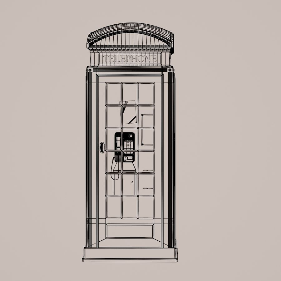 Telephone Box royalty-free 3d model - Preview no. 5
