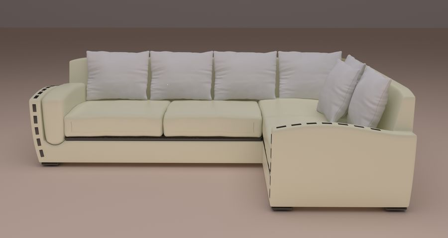 sofa narożna royalty-free 3d model - Preview no. 25