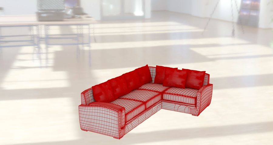 sofa narożna royalty-free 3d model - Preview no. 7