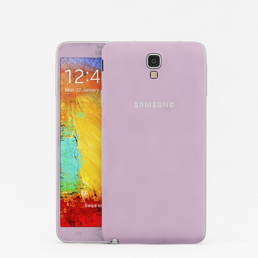 Samsung Galaxy Note 3 Neo Pink royalty-free 3d model - Preview no. 2