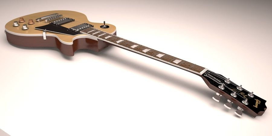 Guitar Les Paul royalty-free 3d model - Preview no. 5