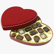 Chocolates em caixa de coração 3d model