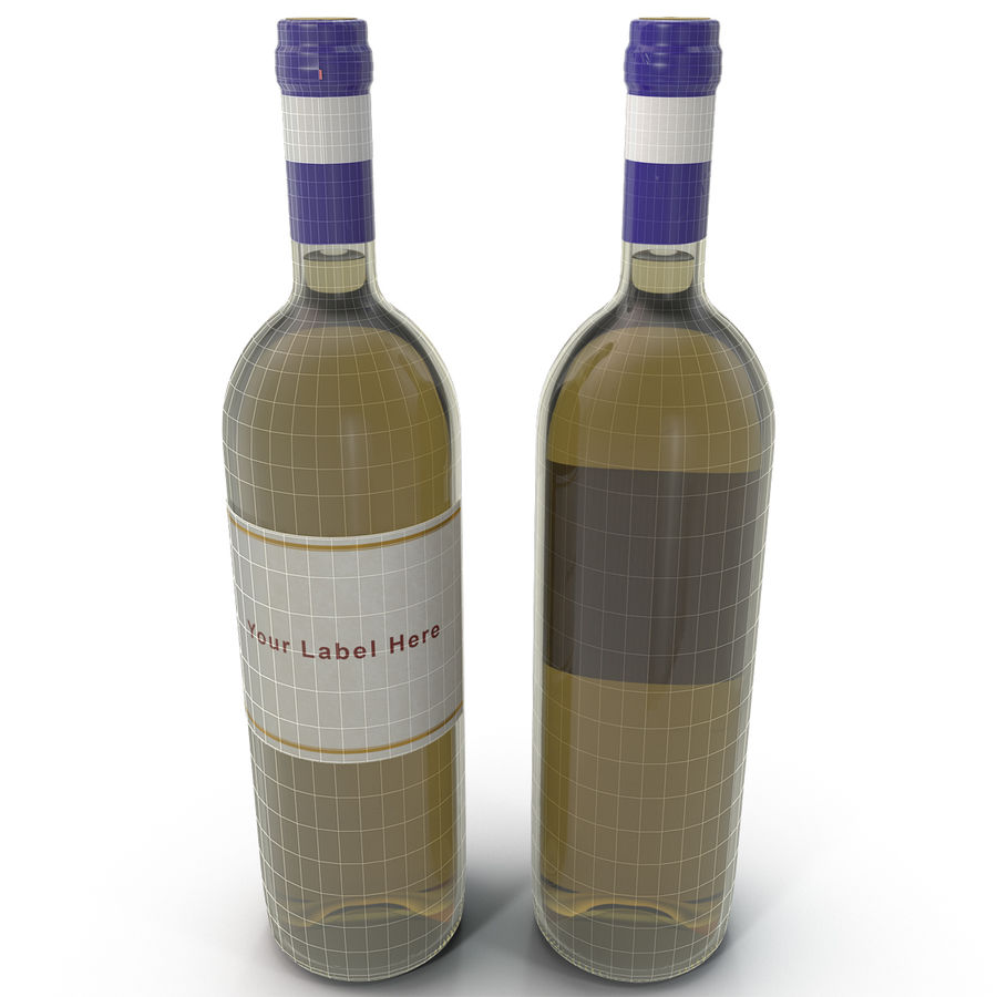 White Wine Bottle royalty-free 3d model - Preview no. 14