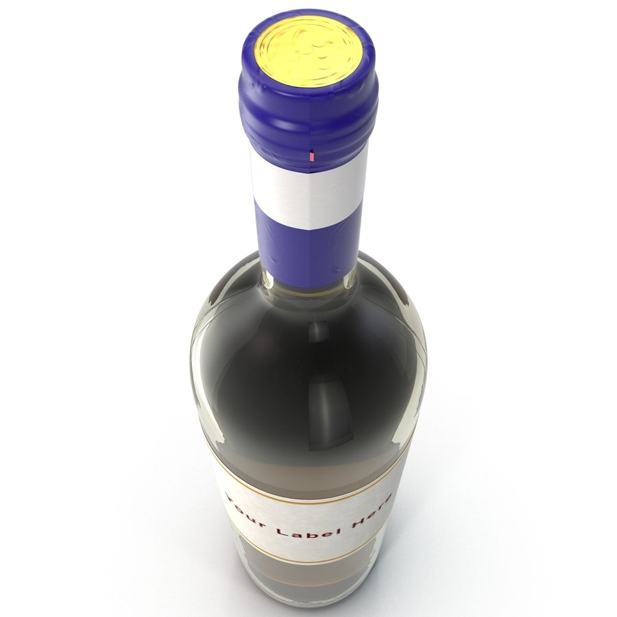 White Wine Bottle royalty-free 3d model - Preview no. 7