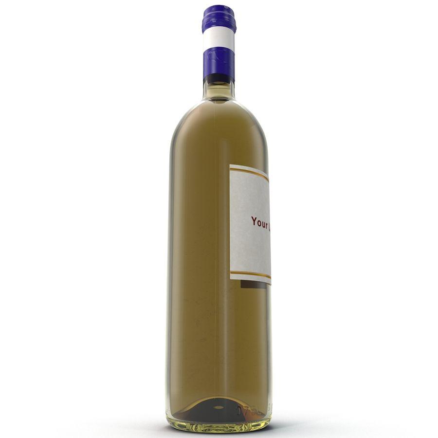 White Wine Bottle royalty-free 3d model - Preview no. 6