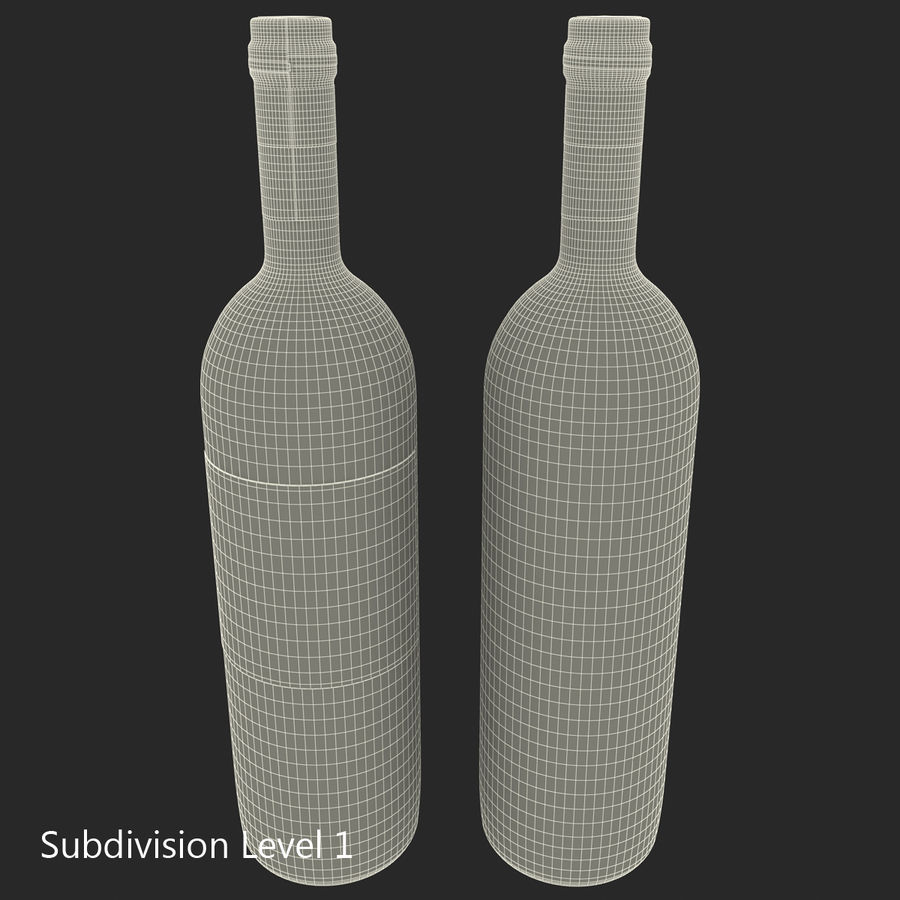 White Wine Bottle royalty-free 3d model - Preview no. 23