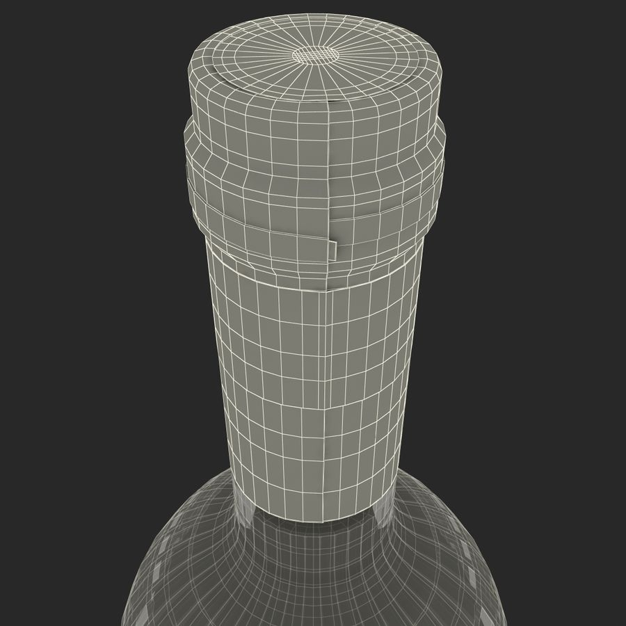 White Wine Bottle royalty-free 3d model - Preview no. 21