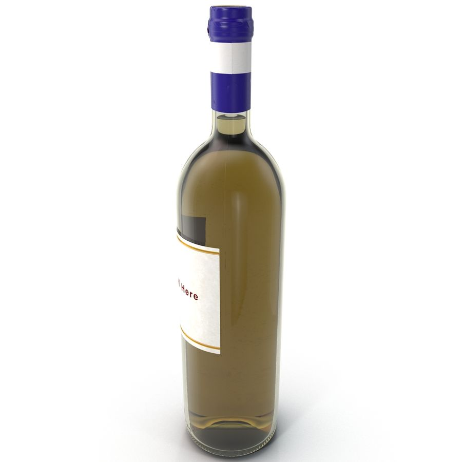 White Wine Bottle royalty-free 3d model - Preview no. 2