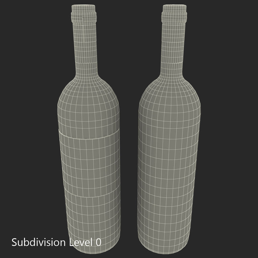 White Wine Bottle royalty-free 3d model - Preview no. 22