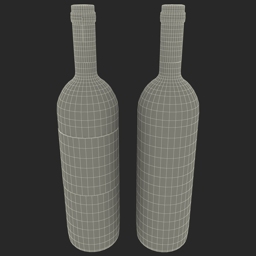 White Wine Bottle royalty-free 3d model - Preview no. 15