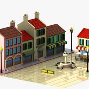 Cartoon Town Square 3d model