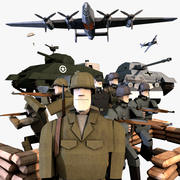 LowPoly WWII Characters and Equipment Pack (riggat för C4D) 3d model