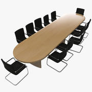 Conference Table With Chairs 3d model