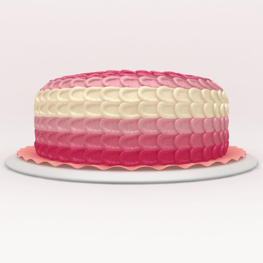 Pink Ombre Petal Cake royalty-free 3d model - Preview no. 2