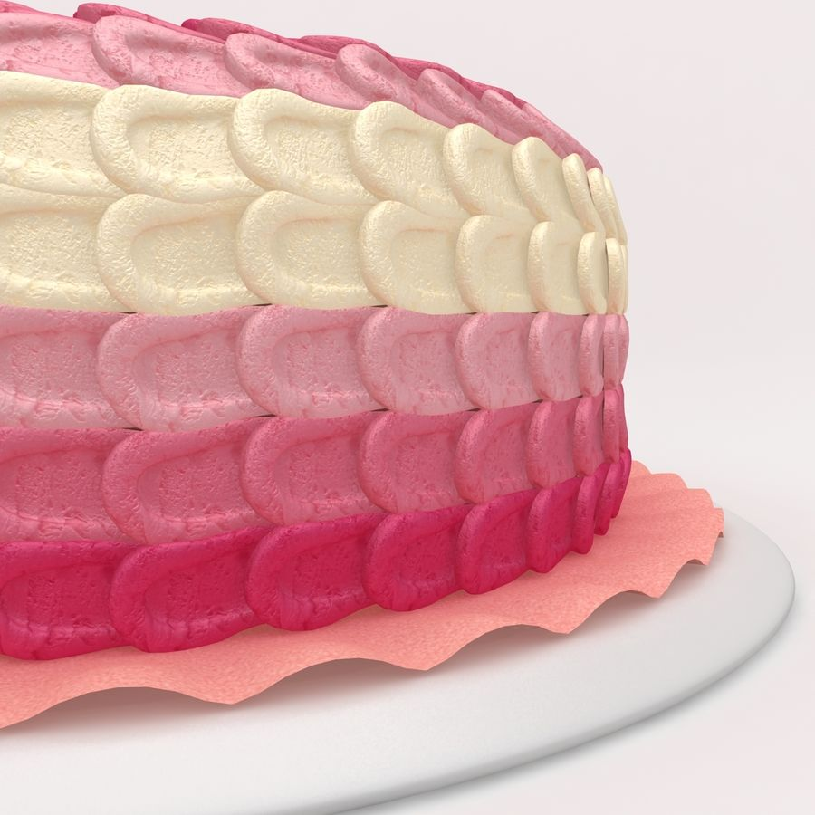 Pink Ombre Petal Cake royalty-free 3d model - Preview no. 5