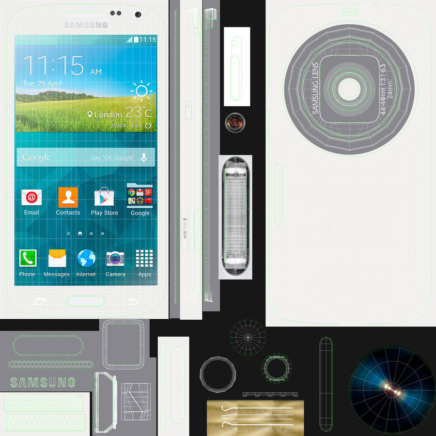 Samsung Galaxy K Zoom Smartphone Camera White royalty-free 3d model - Preview no. 8