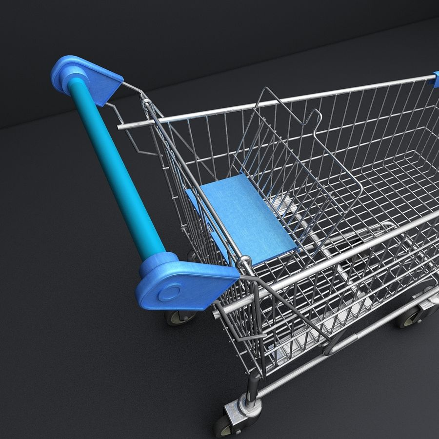 Supermarket Shopping Cart royalty-free 3d model - Preview no. 11