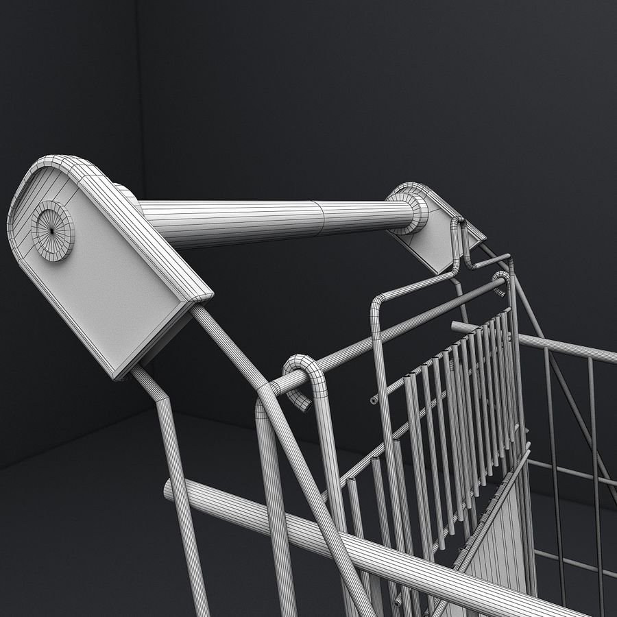Supermarket Shopping Cart royalty-free 3d model - Preview no. 15