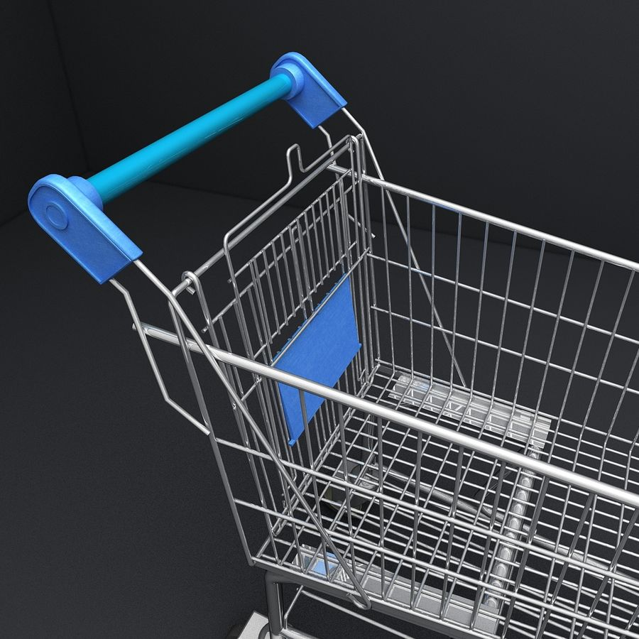 Supermarket Shopping Cart royalty-free 3d model - Preview no. 9