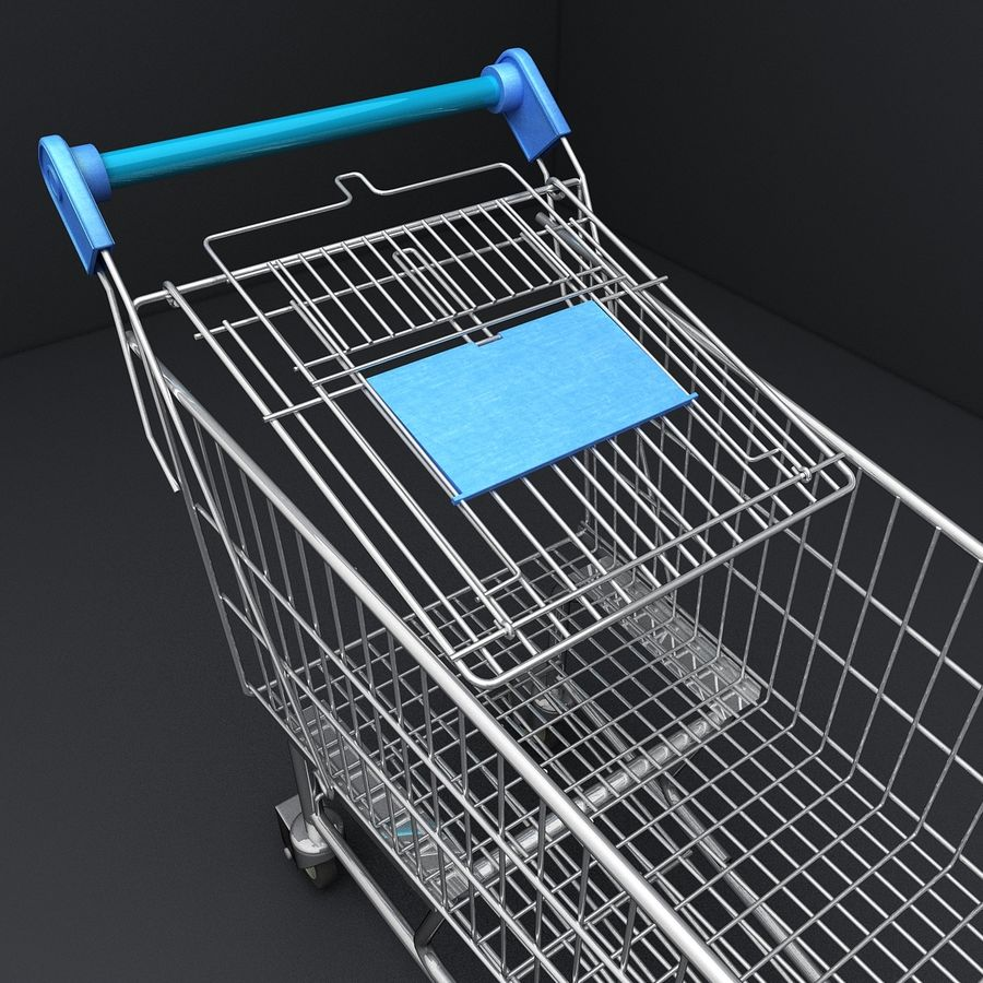 Supermarket Shopping Cart royalty-free 3d model - Preview no. 13