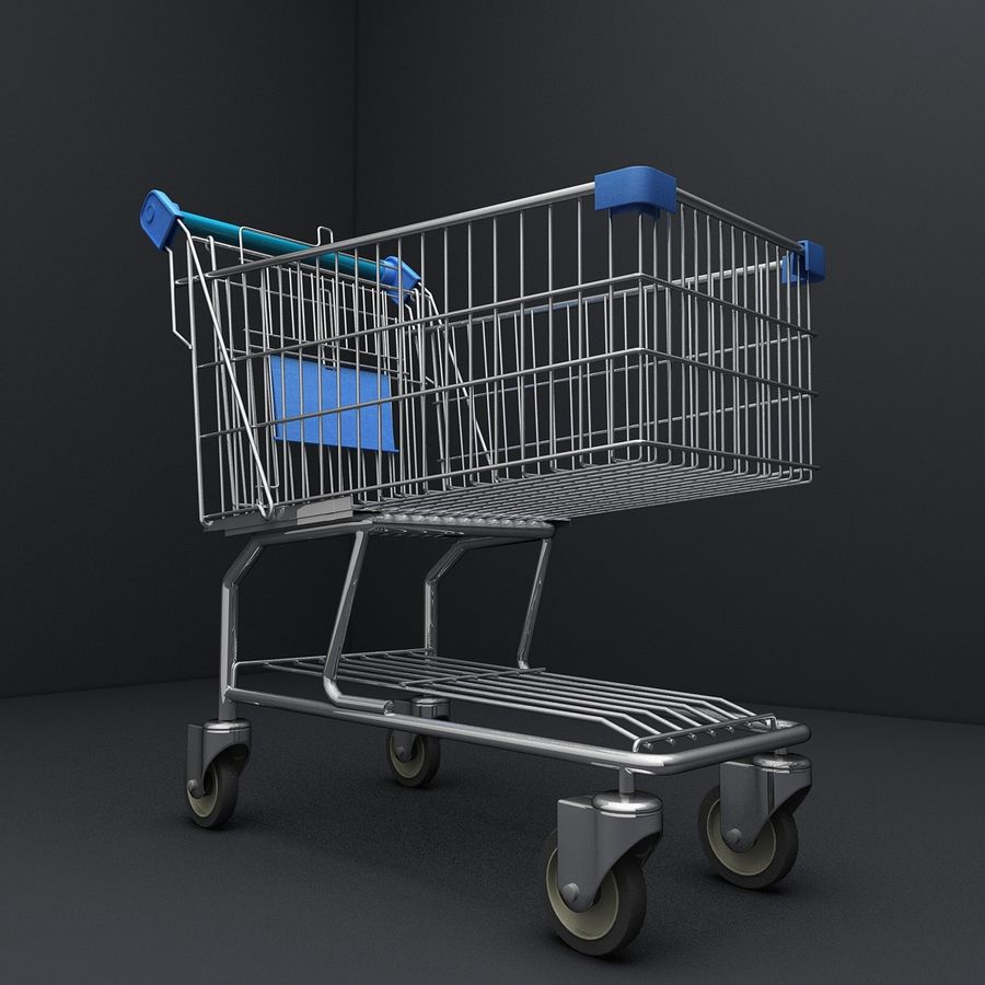 Supermarket Shopping Cart royalty-free 3d model - Preview no. 7