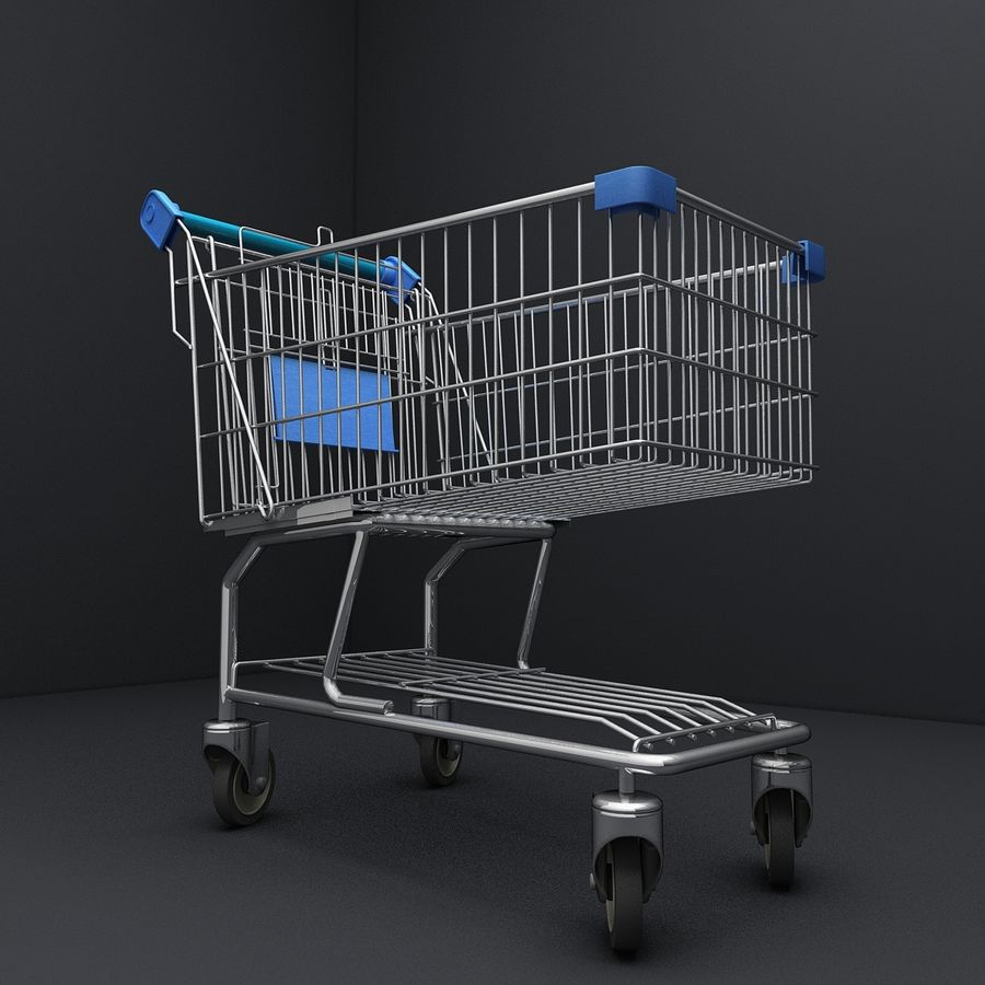 Supermarket Shopping Cart royalty-free 3d model - Preview no. 8