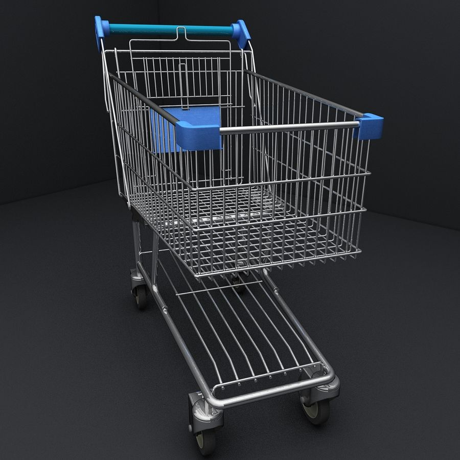 Supermarket Shopping Cart royalty-free 3d model - Preview no. 2