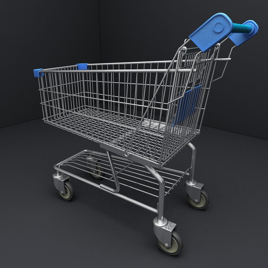 Supermarket Shopping Cart royalty-free 3d model - Preview no. 4