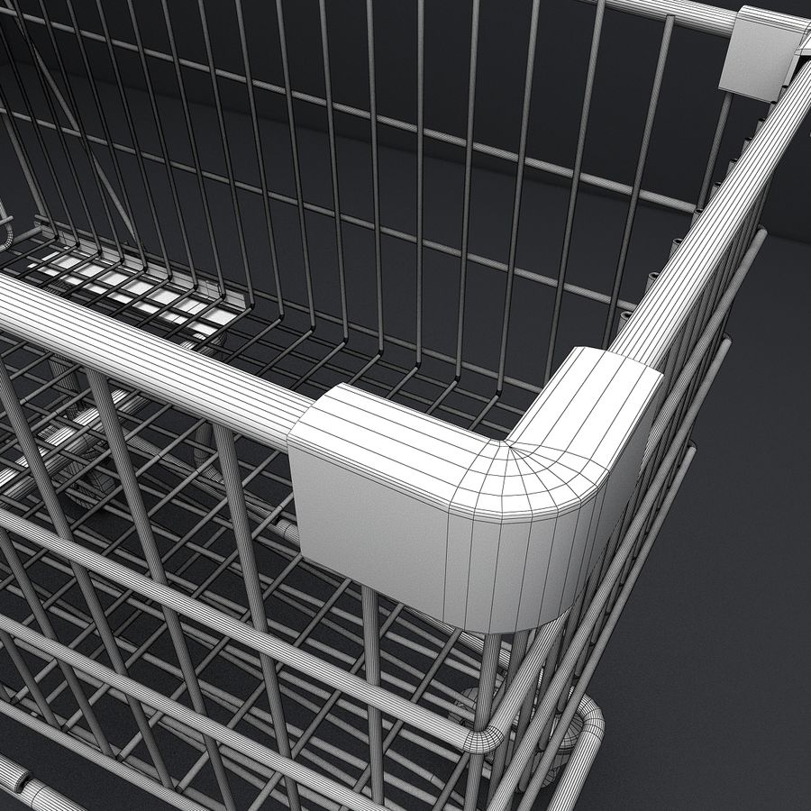 Supermarket Shopping Cart royalty-free 3d model - Preview no. 17