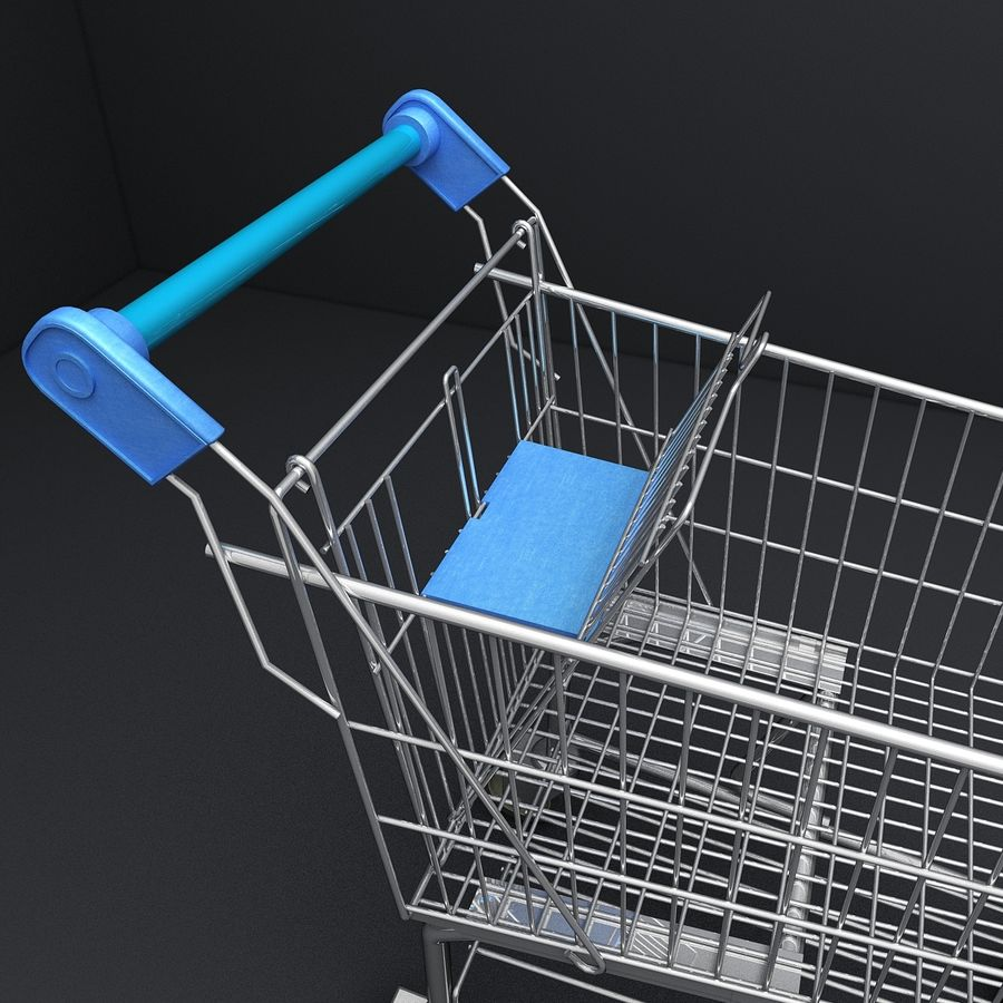 Supermarket Shopping Cart royalty-free 3d model - Preview no. 10