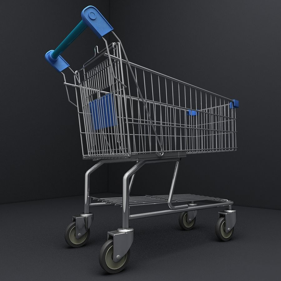 Supermarket Shopping Cart royalty-free 3d model - Preview no. 6