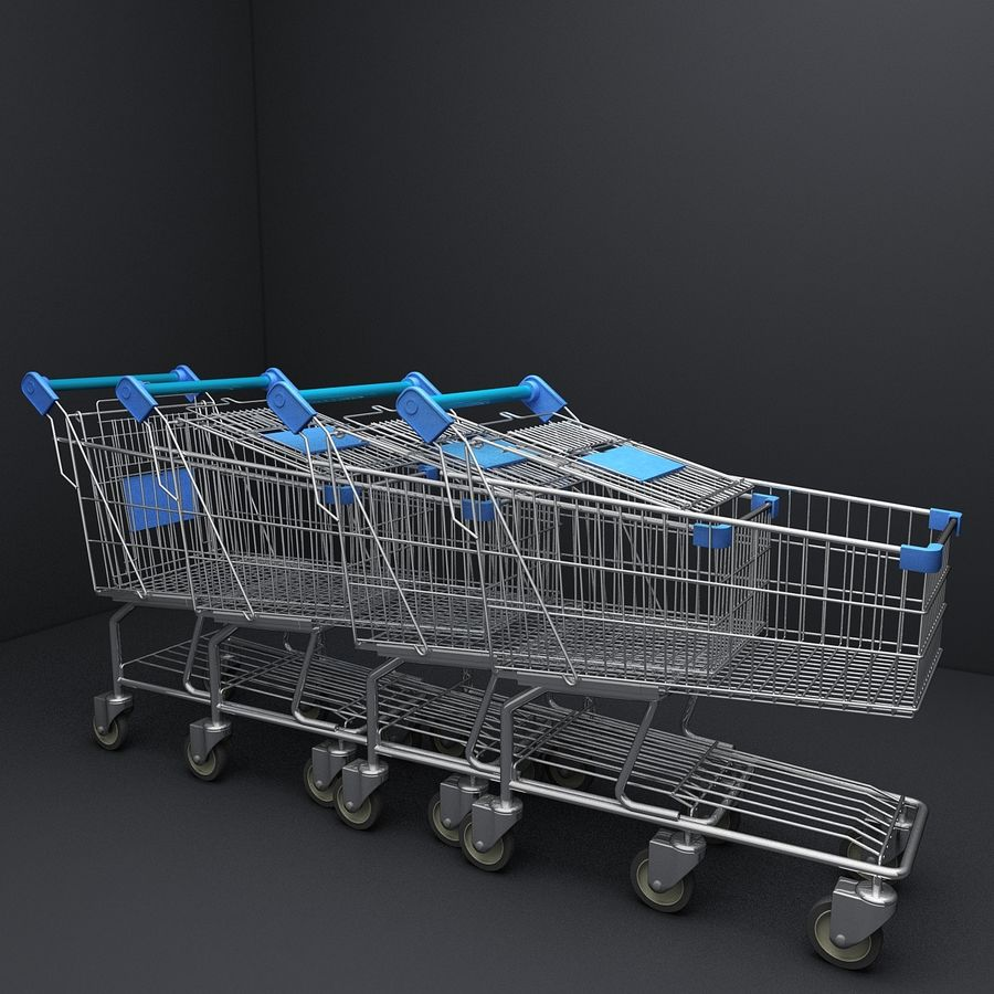 Supermarket Shopping Cart royalty-free 3d model - Preview no. 14