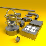 Elektrische Leitung + Komponenten 3d model