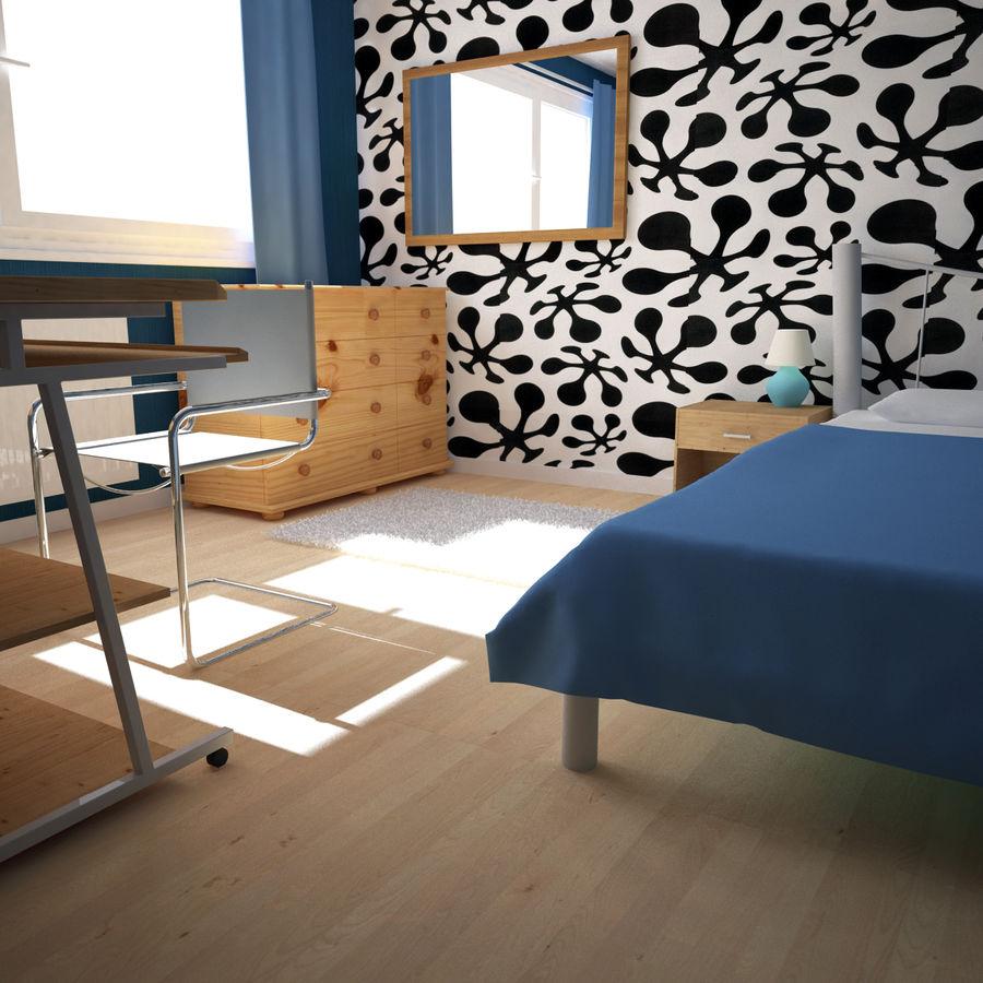 Küçük Yatak Odası Sahnesi 3 royalty-free 3d model - Preview no. 3