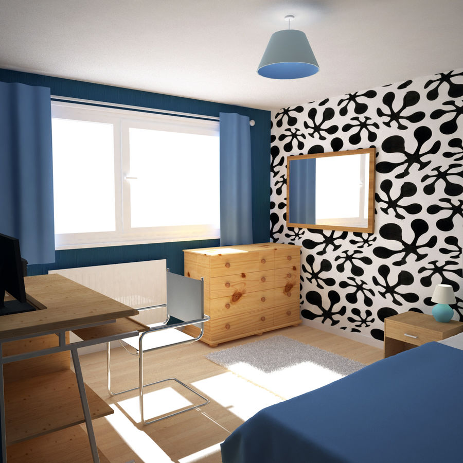 Küçük Yatak Odası Sahnesi 3 royalty-free 3d model - Preview no. 2