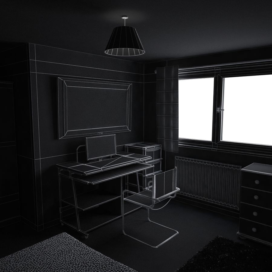 Küçük Yatak Odası Sahnesi 3 royalty-free 3d model - Preview no. 9
